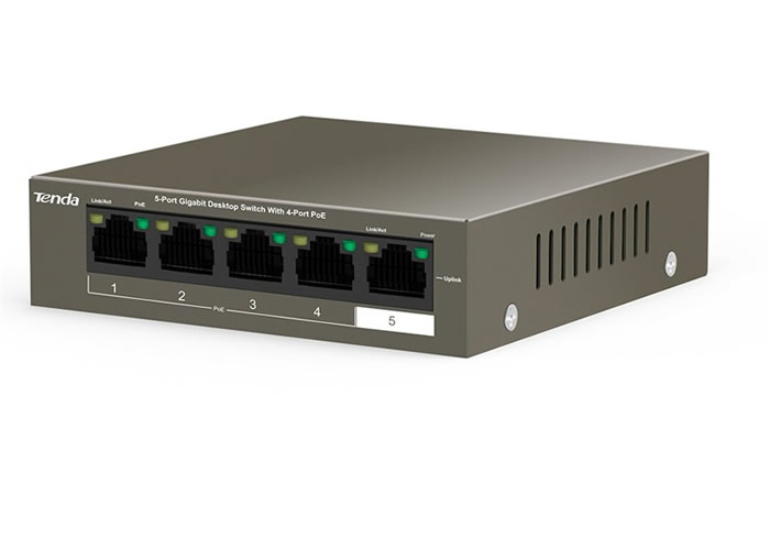 TEF1105P-4-63W is a 5-port 10/100Mbps unmanaged switch